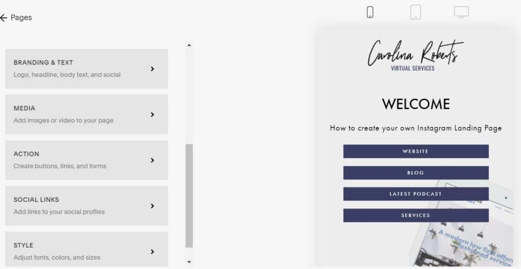 Cover Page Options on Squarespace for Instagram Landing Page