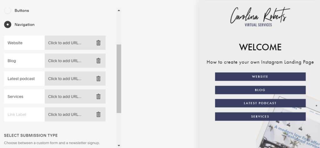 Navigation Options for Instagram Landing Page