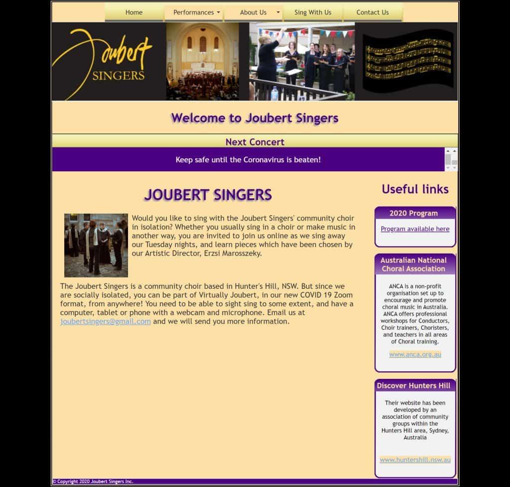 Joubert Choir Old HTML Website
