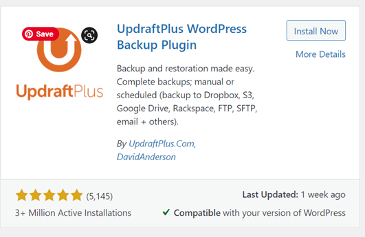 UpdraftPlys WordPress Backup Plugin