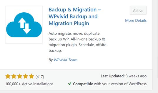 WP Vivid Backup and Migration Plugin