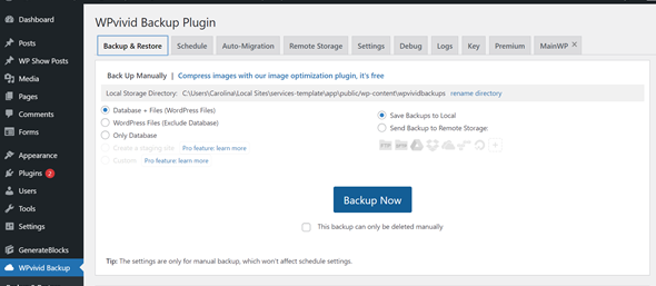 WPVivid Backup Plugin WordPress Dashboard