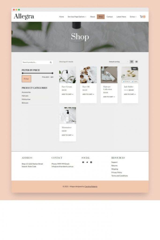 Shop Allegra Kadence WordPress Theme