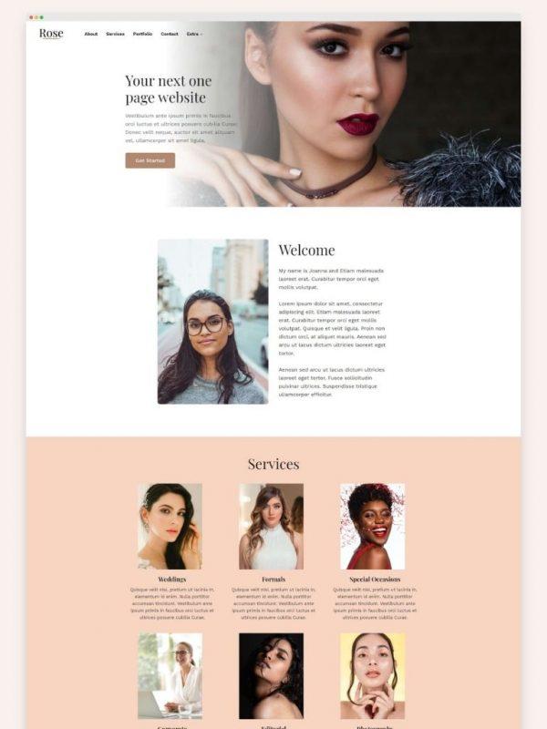 Rose Child Theme Kadence Template Homepage Website