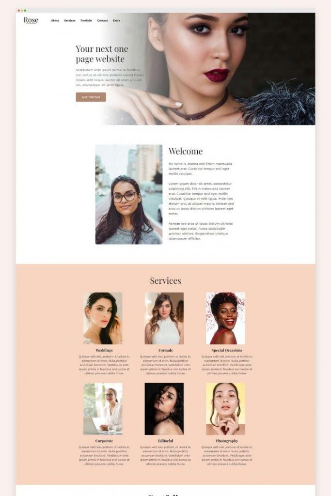 Rose Kadence Child Theme Homepage